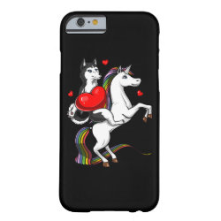 Funny Siberian Husky Dog Riding Unicorn Barely There iPhone 6 Case