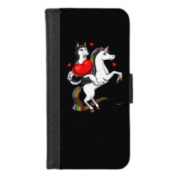 Funny Siberian Husky Dog Riding Unicorn iPhone 8/7 Wallet Case
