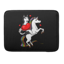 Funny Siberian Husky Dog Riding Unicorn MacBook Pro Sleeve