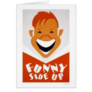 Funny Side Up Reading 1939 WPA Greeting Card