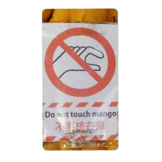 Funny Sign 'Do not touch mango' Label