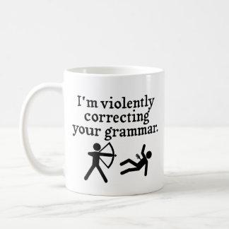 "Funny ""Silently Correcting Your Grammar"" Spoof Coffee Mug"
