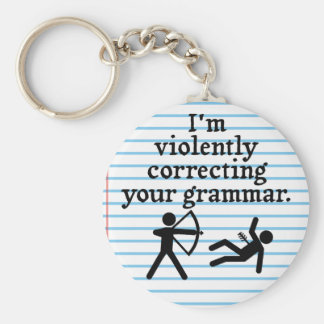 "Funny ""Silently Correcting Your Grammar"" Spoof Basic Round Button Keychain"