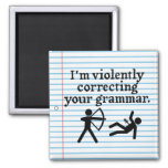 "Funny ""Silently Correcting Your Grammar"" Spoof 2 Inch Square Magnet"