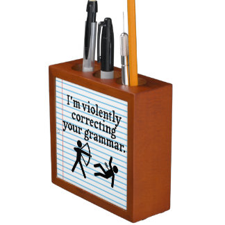 "Funny ""Silently Correcting Your Grammar"" Spoof Pencil Holder"