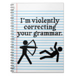 """Funny """"Silently Correcting Your Grammar"""" Spoof Spiral Notebook"""