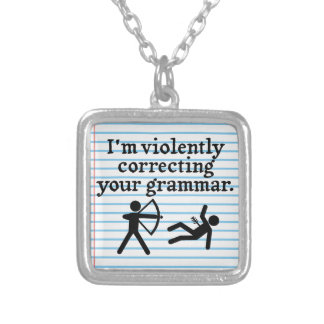 "Funny ""Silently Correcting Your Grammar"" Spoof Square Pendant Necklace"