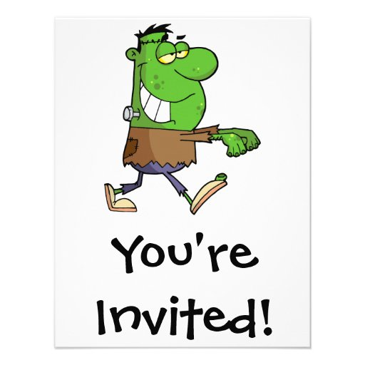 funny silly cartoon frankenstein for halloween personalized invitation