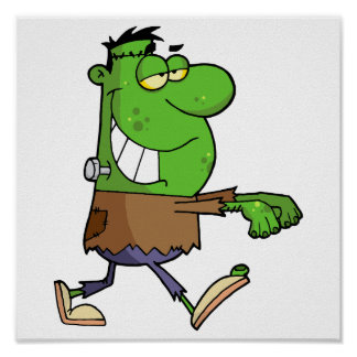 funny silly cartoon frankenstein for halloween posters