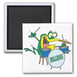 funny silly cartoon frog drummer cartoon 2 inch square magnet