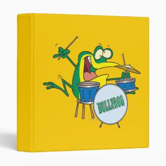 funny silly cartoon frog drummer cartoon 3 ring binder