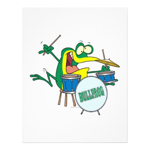 funny silly cartoon frog drummer cartoon flyers
