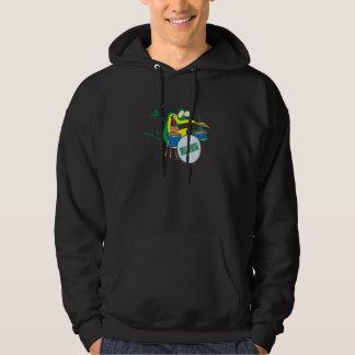 funny silly cartoon frog drummer cartoon hoodie