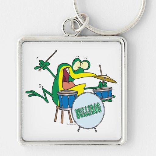 funny silly cartoon frog drummer cartoon keychain