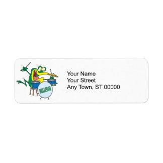 funny silly cartoon frog drummer cartoon label