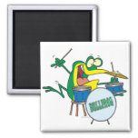 funny silly cartoon frog drummer cartoon fridge magnets