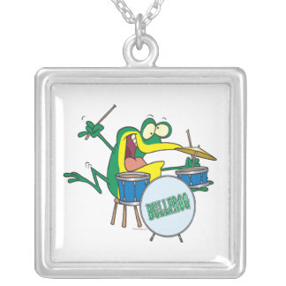 funny silly cartoon frog drummer cartoon square pendant necklace