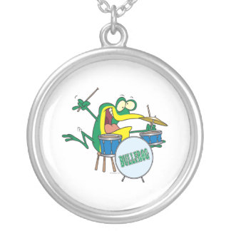 funny silly cartoon frog drummer cartoon round pendant necklace