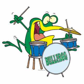 funny silly cartoon frog drummer cartoon photo sculptures