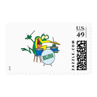 funny silly cartoon frog drummer cartoon postage stamp