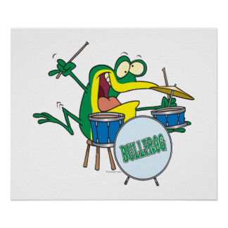 funny silly cartoon frog drummer cartoon poster