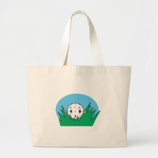 funny silly cartoon golfball hiding in bushes canvas bags