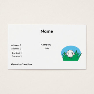 funny silly cartoon golfball hiding in bushes business card
