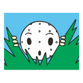 funny silly cartoon golfball hiding in bushes postcard