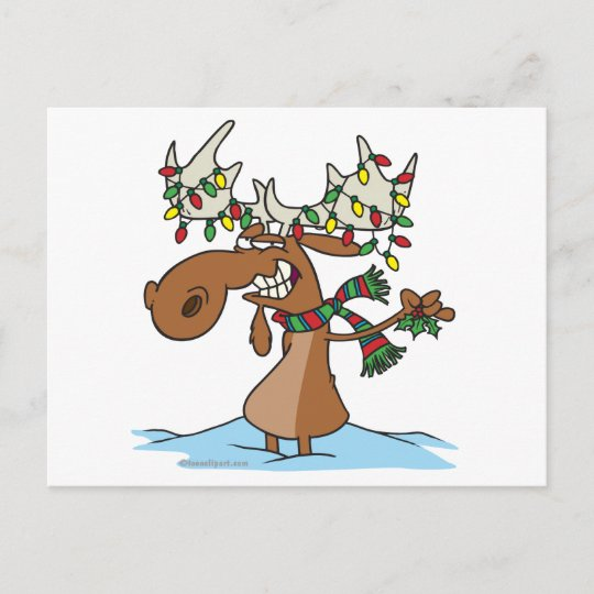 funny silly christmas moose cartoon holiday postcard - Christmas Moose