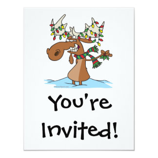 funny silly christmas moose cartoon custom invitation