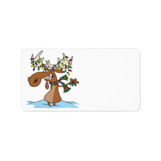funny silly christmas moose cartoon label