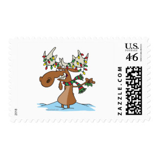 funny silly christmas moose cartoon stamps