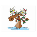 funny silly christmas moose cartoon postcard