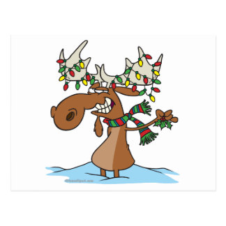 funny silly christmas moose cartoon postcard
