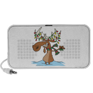 funny silly christmas moose cartoon speakers