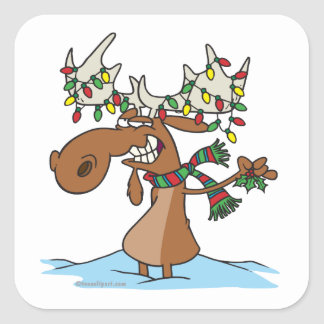 funny silly christmas moose cartoon square sticker