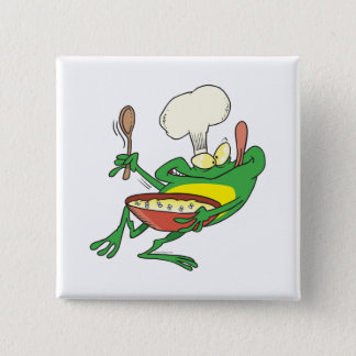 funny silly cooking chef frog cartoon pinback button