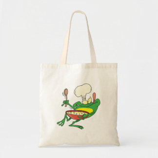 funny silly cooking chef frog cartoon tote bag