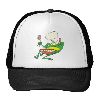 funny silly cooking chef frog cartoon trucker hat