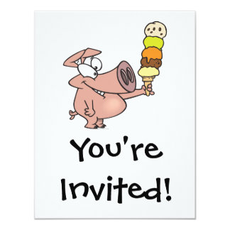 funny silly cute piggy pig with ice cream cone card