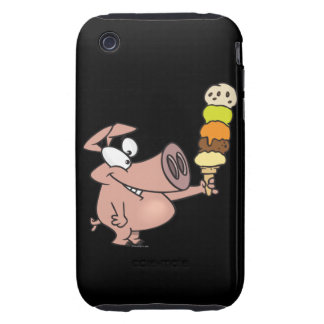 funny silly cute piggy pig with ice cream cone tough iPhone 3 cases