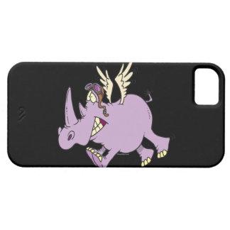 funny silly flying rhino rhinoceros cartoon iPhone SE/5/5s case