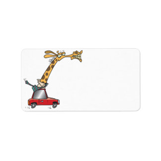 funny silly giraffe in a car commuting label