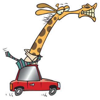 funny silly giraffe in a car commuting acrylic cut out
