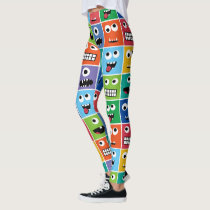 Funny Silly Monsters Pattern Colorful Monster Face Leggings