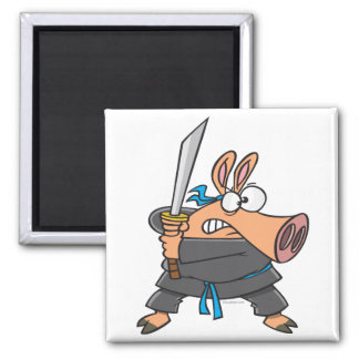 funny silly ninja karate pig piggy cartoon 2 inch square magnet