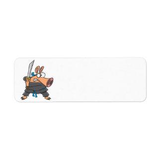funny silly ninja karate pig piggy cartoon return address label