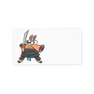 funny silly ninja karate pig piggy cartoon address label