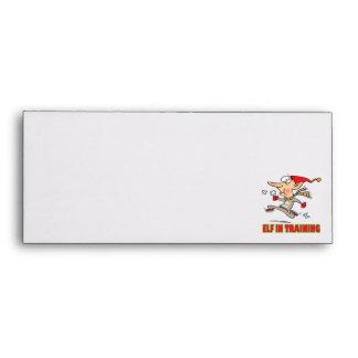 funny silly santa elf in training jogging cartoon envelopes