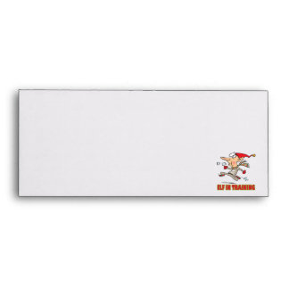 funny silly santa elf in training jogging cartoon envelope